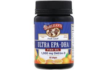 Barlean's, Fresh Catch Fish Oil, Omega-3, Ultra EPA/DHA, Orange Flavor, 60 Softgels