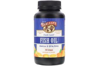 Barlean's, Fresh Catch, Fish Oil Supplement, Omega-3 EPA/DHA, Orange Flavor, 250 Softgels