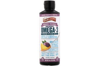 Barlean's, Seriously Delicious, Omega-3 Fish Oil, Passion Pineapple Smoothie, 454 g