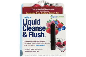 Applied Nutrition 5 Day Liquid Cleanse & Flush Energy Bloating & Detox Support - Mixed Berry, 10 Liquid Tubes (10ml each)