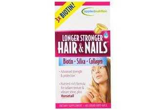 Applied Nutrition Longer Stronger Hair & Nails Biotin Silica Collagen 60 Liquid Soft Gels