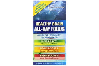 Applied Nutrition Healthy Brain All Day Focus Concentration Memory Mood Energy & Mental Support 50 Tablets