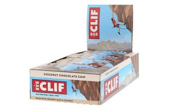Clif Bar High Protein Organic Energy Bars + Vitamins & Minerals - Coconut Chocolate Chip, 12 Bars (68g each)