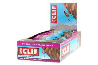 Clif Bar High Protein Organic Energy Bars + Vitamins & Minerals - Chocolate Chip Peanut Crunch, 12 Bars (68g each)