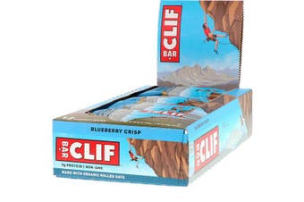 Clif Bar High Protein Organic Energy Bars + Vitamins & Minerals - Blueberry Crisp, 12 Bars (68g each)