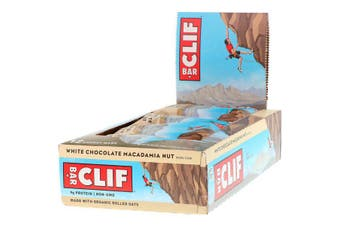 Clif Bar High Protein Organic Energy Bars + Vitamins & Minerals - White Chocolate Macadamia Nut, 12 Bars (68g each)