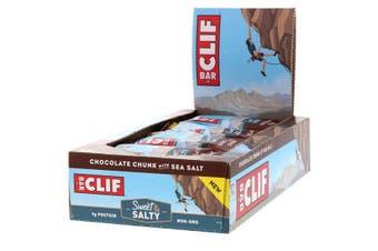 Clif Bar High Protein Organic Energy Bars + Vitamins & Minerals - Chocolate Chunk with Sea Salt, 12 Bars (68g each)