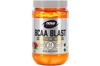Now Foods Sports BCAA Blast Flavoured Branch Chain Amino Acids - Natural Raspberry, 600g