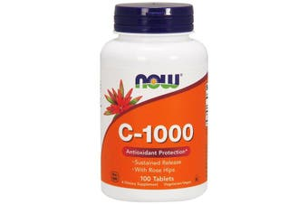 Now Foods C-1000 Vitamin C Ascorbic Acid + Rose Hips Powder 100 Tablets