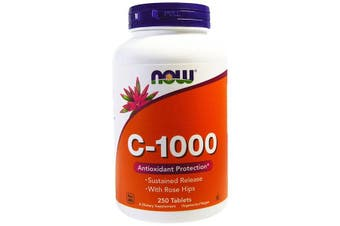 Now Foods C-1000 Vitamin C Ascorbic Acid + Rose Hips Powder 250 Tablets
