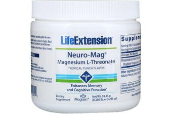 Life Extension Neuro-Mag Magnesium L-Threonate - Tropical Punch Flavour, 93g