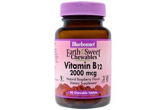 Bluebonnet Nutrition, EarthSweet Chewables, Vitamin B12, Natural Raspberry Flavor, 2,000 mcg, 90 Chewable Tablets