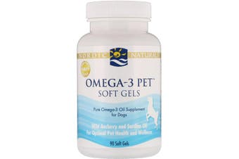 Nordic Naturals Omega-3 Pet Soft Gels For Dogs Wild Anchovy & Sardine Oil 90 Soft Gels