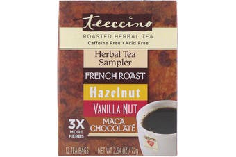 Teeccino Roasted Herbal Tea Herbal Tea Sampler 4 Flavors Caffeine Free - 12 Tea Bags