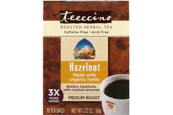 Teeccino Roasted Herbal Tea Medium Roast Hazelnut Caffeine Free - 10 Tea Bags