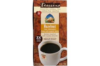 Teeccino Roasted Herbal Tea Medium Roast Hazelnut Caffeine Free - 25 Tea Bags