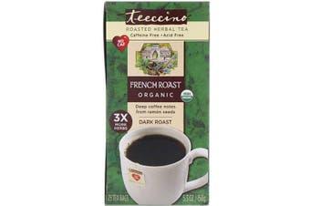 Teeccino Organic Roasted Herbal Tea French Roast Dark Roast Caffeine Free - 25 Tea Bags