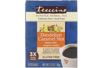 Teeccino Roasted Herbal Tea Dandelion Caramel Nut Caffeine Free - 10 Tea Bags