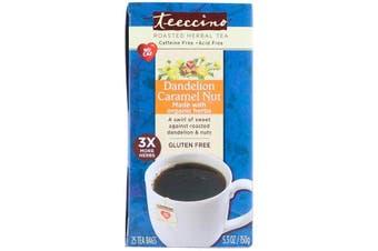 Teeccino Roasted Herbal Tea Dandelion Caramel Nut Caffeine Free - 25 Tea Bags