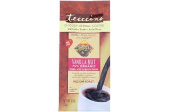 Teeccino Chicory Herbal Coffee Medium Roast Caffeine Free Vanilla Nut 312g