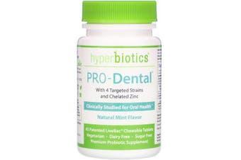 Hyperbiotics PRO-Dental Natural Mint Flavour 45 Patented LiveBac Chewable Tablets