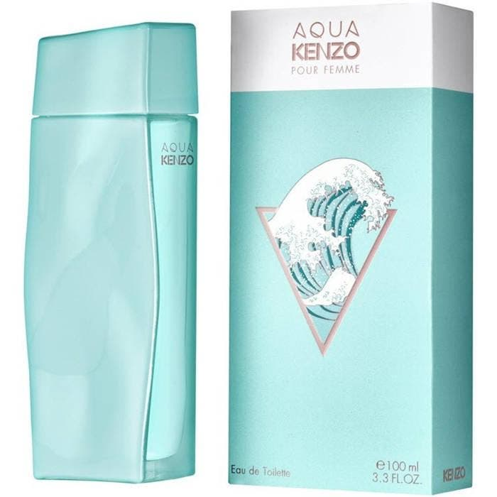 """Aqua Kenzo Pour Femme for Women EDT 100ml Kenzo launches two new fresh, water-inspired fragrances called Aqua Kenzo. Although the design mimics the L''Eau par Kenzo line, these Eaux de Toilette Aqua Kenzo pour Femme and Aqua Kenzo pour Homme present the new interpretations of water, freshness and aquatic notes. Announced with the slogan """"For Water Addicts Only."""""""