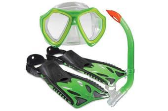 Land & Sea Nipper Kids Mask, Snorkel & Fins Set Child Lime