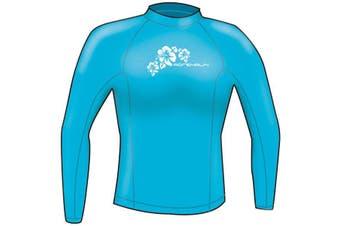 Adrenalin Ladies Rash Vest Lycra Long Sleeve 14 Aqua