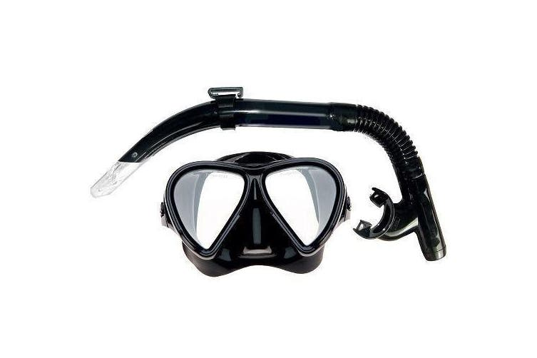 Mirage Adult Stealth Silicone Mask and Snorkel Set Black