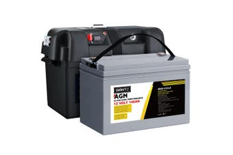 Giantz 140Ah Deep Cycle Battery & Battery Box 12V AGM Marine Sealed Power Solar Caravan 4WD Camping