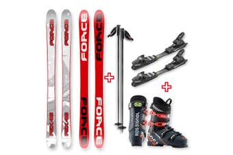 FORCE FSX Sidewall Skis 145cm with Binding, Boots, Poles Package