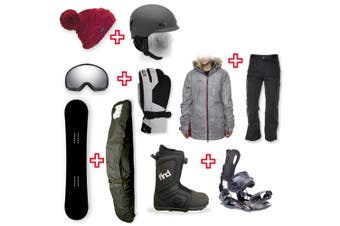 FIND Snowboard Package with Realm ATOP Cable Boot and Rear Entry SP Binding + Women Head to Toe Package