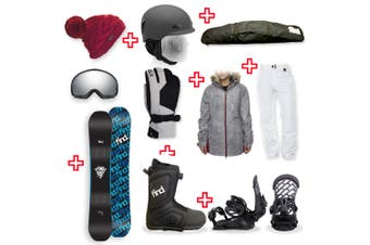 FIND Skull Sidewall Snowboard Package with Realm ATOP Cable Boot and TORK Binding + Women Head to Toe Package