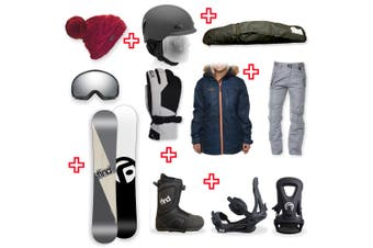 FIND Turbo Capped WIDE Snowboard Package with Realm ATOP Cable Boot and TRACTION Binding + Women Head to Toe Package
