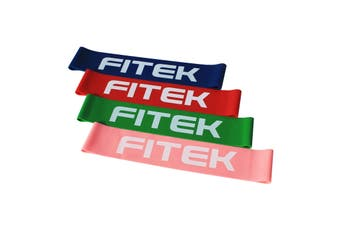 FITEK Mini Powerband Resistance Package - Pack of 4 Bands: Pink, Green, Red & Blue