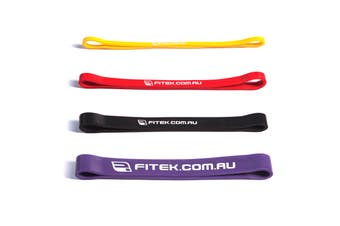 FITEK 12inch Powerband Resistance Package - Pack of 4 Bands: Yellow, Red, Black & Purple
