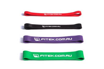 FITEK 12inch Powerband Resistance Package - Pack of 4 Bands: Red, Black, Purple & Green