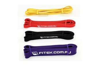 FITEK 41inch Powerband Resistance Package - Pack of 4 Bands: Yellow, Red, Black & Purple