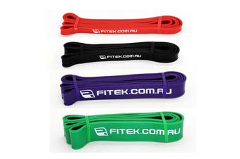 FITEK 41inch Powerband Resistance Package - Pack of 4 Bands: Red, Black, Purple & Green