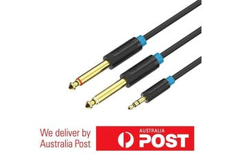 3.5mm to Dual 6.5mm 1/4 Inch Stereo Aux Cable Gold Plated 0.5M/1M/1.5M/2M/3M/5M