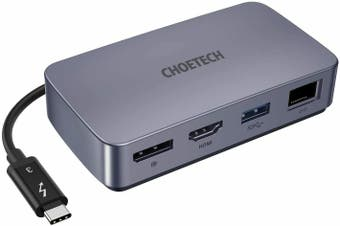 CHOETECH Thunderbolt 3 Certified Dock HDMI DP Ethernet Ports Supports 5K Display