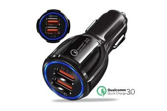 Twin USB 3.0 QC Car Cigarette Lighter Fast Charger Power Car Adapter - Black (AU Stock)