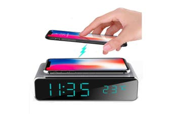 2-in-1 LED Alarm & Wireless Charging Station for Iphone and Android - Grey (AU Stock)