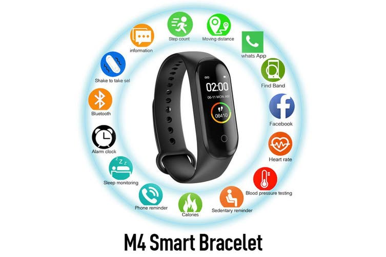 M4 Smart Watch Sports Heart Rate Fitness Tracker Motion - Black (AU Stock)