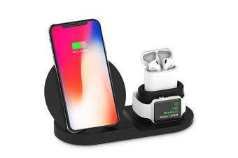 3 in 1 Wireless Charger Stand for iPhones, Airpods and Watches - Black (AU Stock)