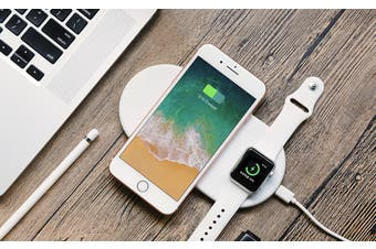 2 in 1 Wireless Charger Charging Pad for iPhone and Apple Watch-White