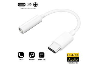 Cable Adapter USB-C Type C To 3.5mm Jack Headphone Cable Audio - White (AU Stock)