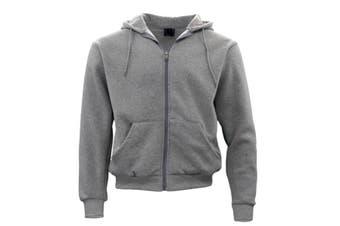 Adult Unisex Men's Zip Up Hoodie w Fleece Hooded Jacket Jumper Basic Blank Plain - Grey