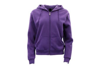 Adult Unisex Men's Zip Up Hoodie w Fleece Hooded Jacket Jumper Basic Blank Plain - Purple