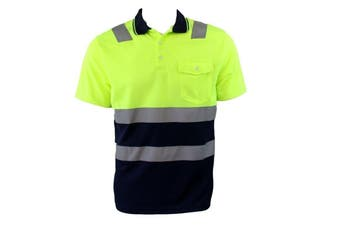 Hi-Vis Safety Workwear Short Sleeve Polo Shirt Top Reflective Tape Two tone - Lime